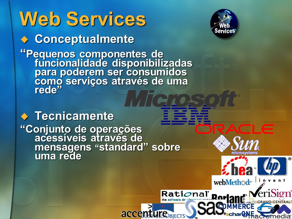 47.NET em suma A plataforma de desenvolvimento de software da Microsoft para a próxima década A plataforma de desenvolvimento de software da Microsoft para a próxima década Baseada em standards, para múltiplas linguagens e múlplipos dispositivos Baseada em standards, para múltiplas linguagens e múlplipos dispositivos Baseada na ideia dos Web Services Baseada na ideia dos Web Services