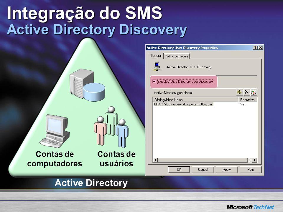 Integração do SMS Active Directory Discovery Active Directory Contas de usuários Contas de computadores