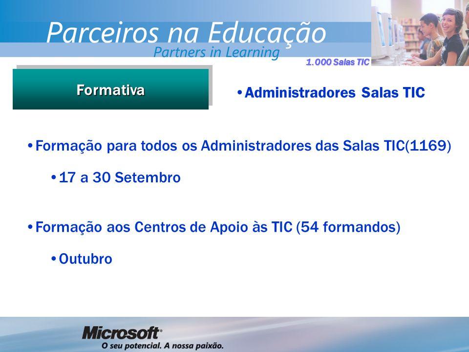 1.000 Salas TIC FormativaFormativa Administradores Salas TIC Formação para todos os Administradores das Salas TIC(1169) 17 a 30 Setembro Formação aos