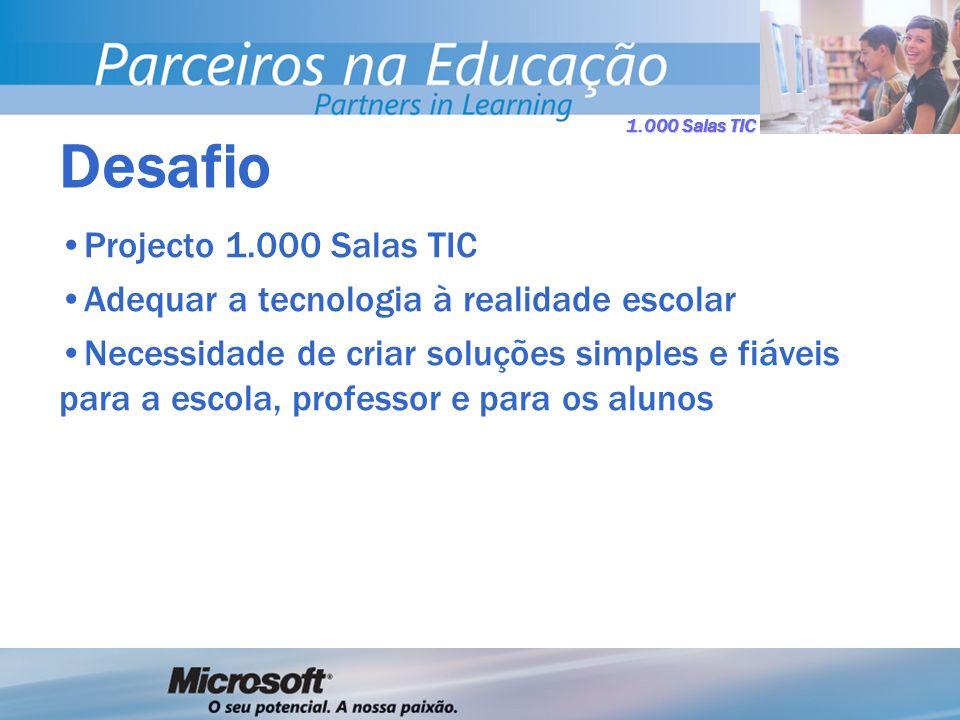 1.000 Salas TIC Projecto 1.000 Salas TIC Adequar a tecnologia à realidade escolar Necessidade de criar soluções simples e fiáveis para a escola, professor e para os alunos Desafio