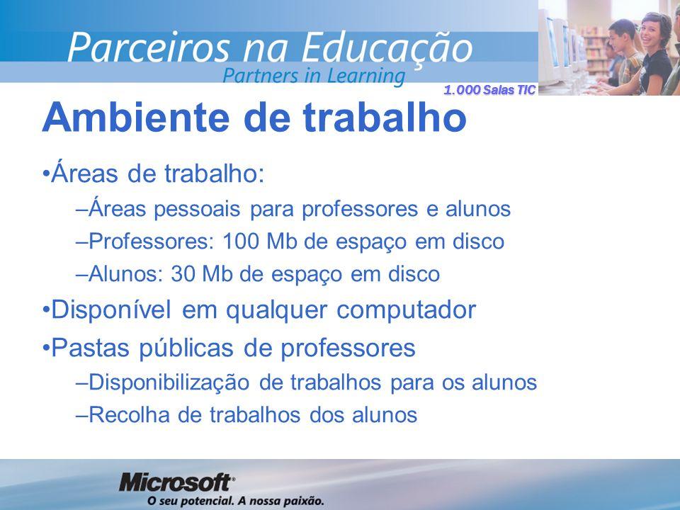 1.000 Salas TIC Áreas de trabalho: –Áreas pessoais para professores e alunos –Professores: 100 Mb de espaço em disco –Alunos: 30 Mb de espaço em disco