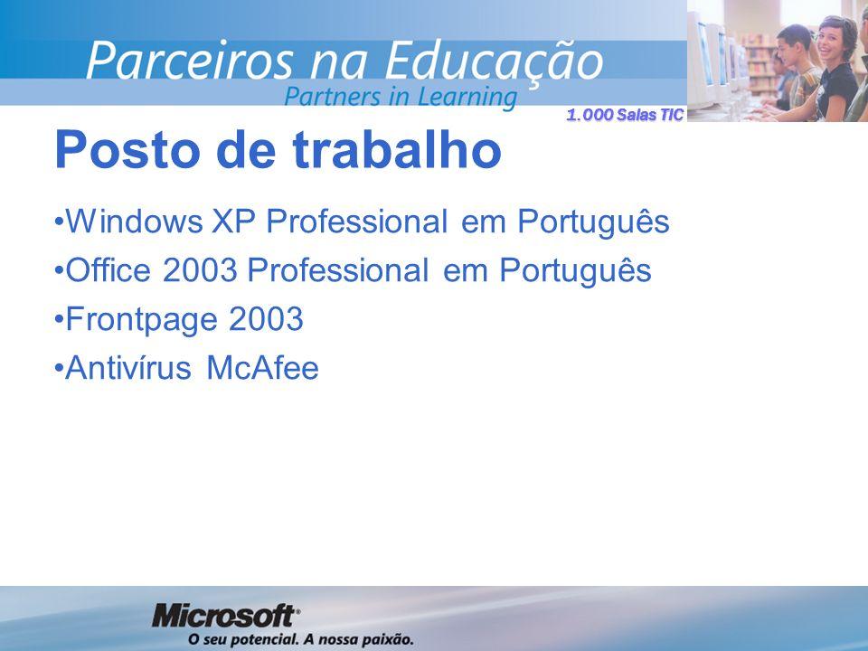 1.000 Salas TIC Windows XP Professional em Português Office 2003 Professional em Português Frontpage 2003 Antivírus McAfee Posto de trabalho