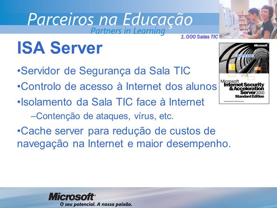 1.000 Salas TIC Servidor de Segurança da Sala TIC Controlo de acesso à Internet dos alunos Isolamento da Sala TIC face à Internet –Contenção de ataques, vírus, etc.