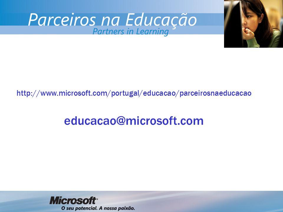 http://www.microsoft.com/portugal/educacao/parceirosnaeducacao educacao@microsoft.com