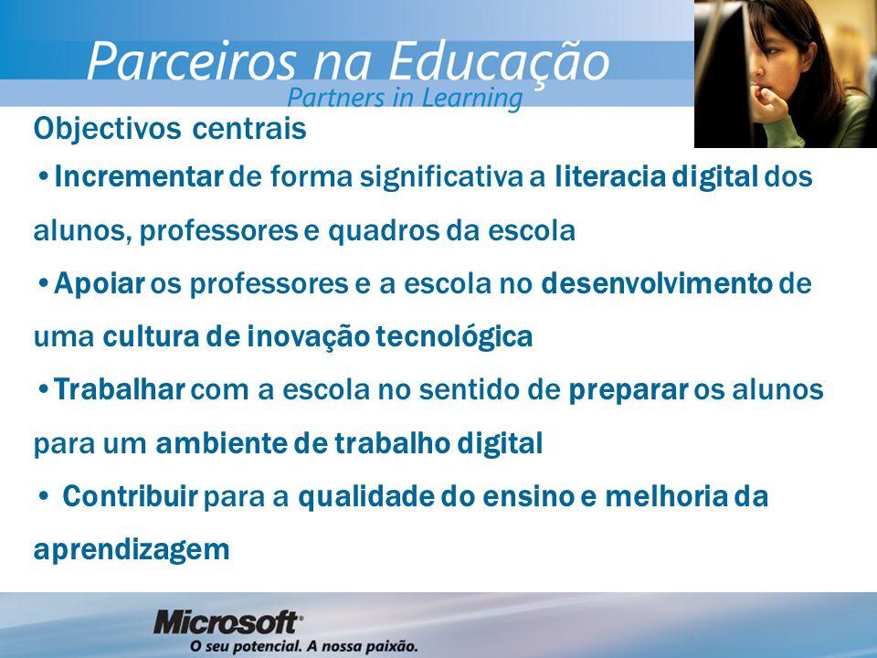 Objectivos centrais Incrementar de forma significativa a literacia digital dos alunos, professores e quadros da escola Apoiar os professores e a escol