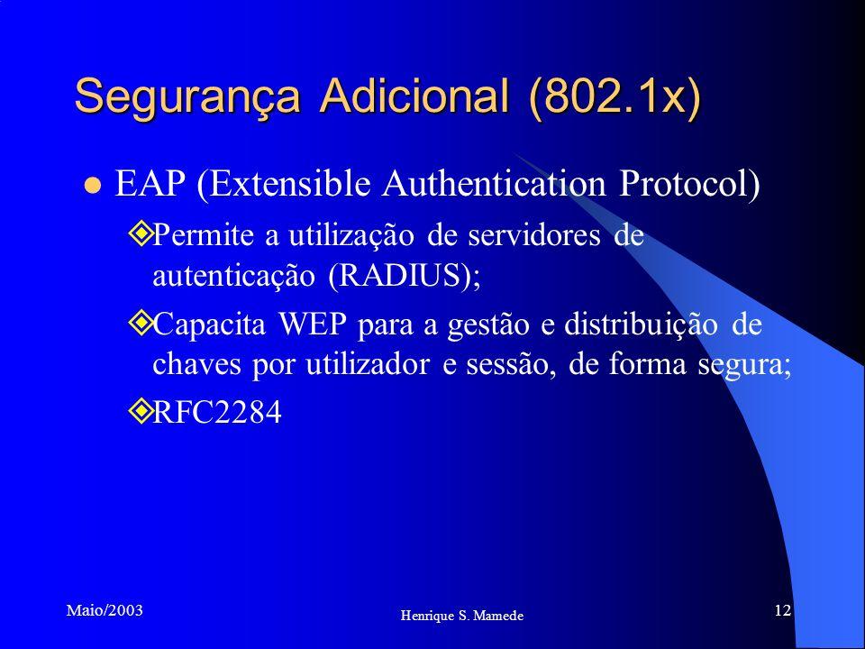 12 Henrique S. Mamede Maio/2003 Segurança Adicional (802.1x) EAP (Extensible Authentication Protocol) Permite a utilização de servidores de autenticaç