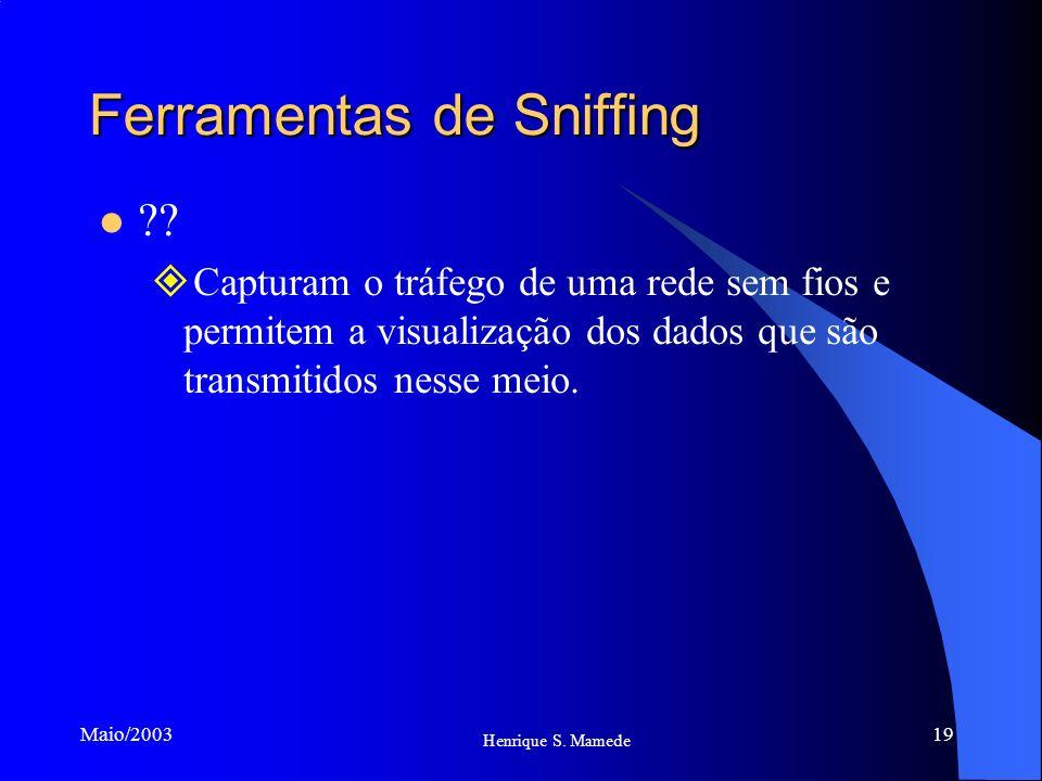 19 Henrique S. Mamede Maio/2003 Ferramentas de Sniffing ?? Capturam o tráfego de uma rede sem fios e permitem a visualização dos dados que são transmi