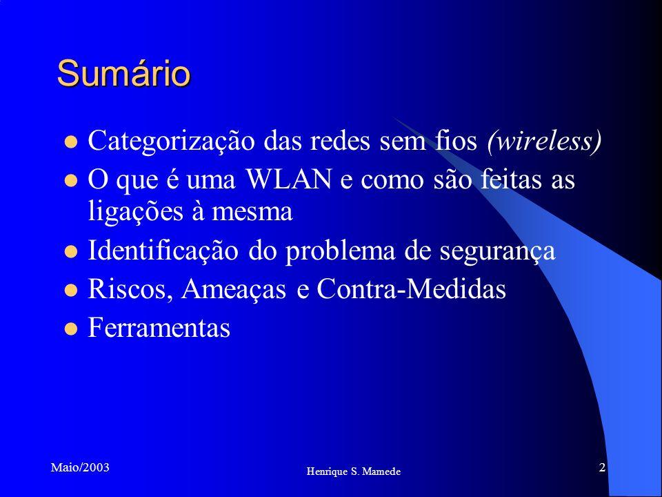 2 Maio/2003 Sumário Categorização das redes sem fios (wireless) O que é uma WLAN e como são feitas as ligações à mesma Identificação do problema de se