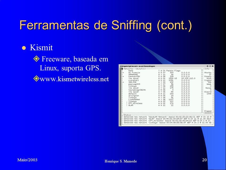 20 Henrique S. Mamede Maio/2003 Ferramentas de Sniffing (cont.) Kismit Freeware, baseada em Linux, suporta GPS. www. kismetwireless.net