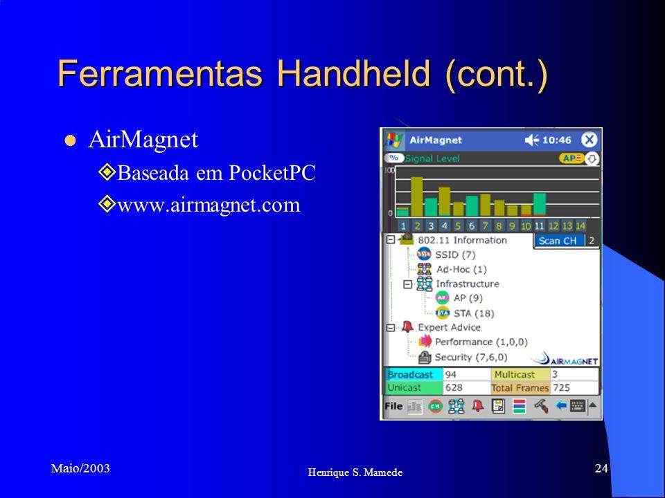 24 Henrique S. Mamede Maio/2003 Ferramentas Handheld (cont.) AirMagnet Baseada em PocketPC www.airmagnet.com