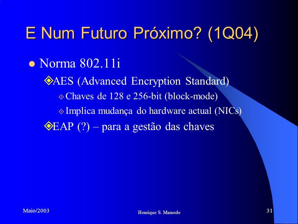 31 Henrique S. Mamede Maio/2003 E Num Futuro Próximo? (1Q04) Norma 802.11i AES (Advanced Encryption Standard) Chaves de 128 e 256-bit (block-mode) Imp