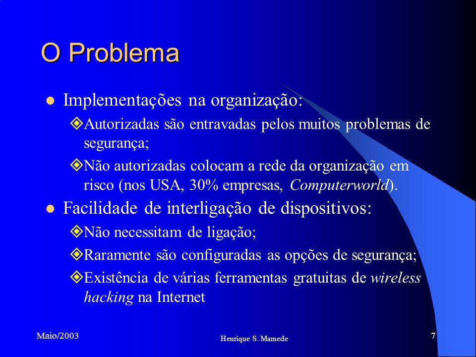 7 Henrique S. Mamede Maio/2003 O Problema Implementações na organização: Autorizadas são entravadas pelos muitos problemas de segurança; Não autorizad
