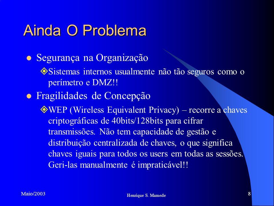 8 Henrique S. Mamede Maio/2003 Ainda O Problema Segurança na Organização Sistemas internos usualmente não tão seguros como o perímetro e DMZ!! Fragili
