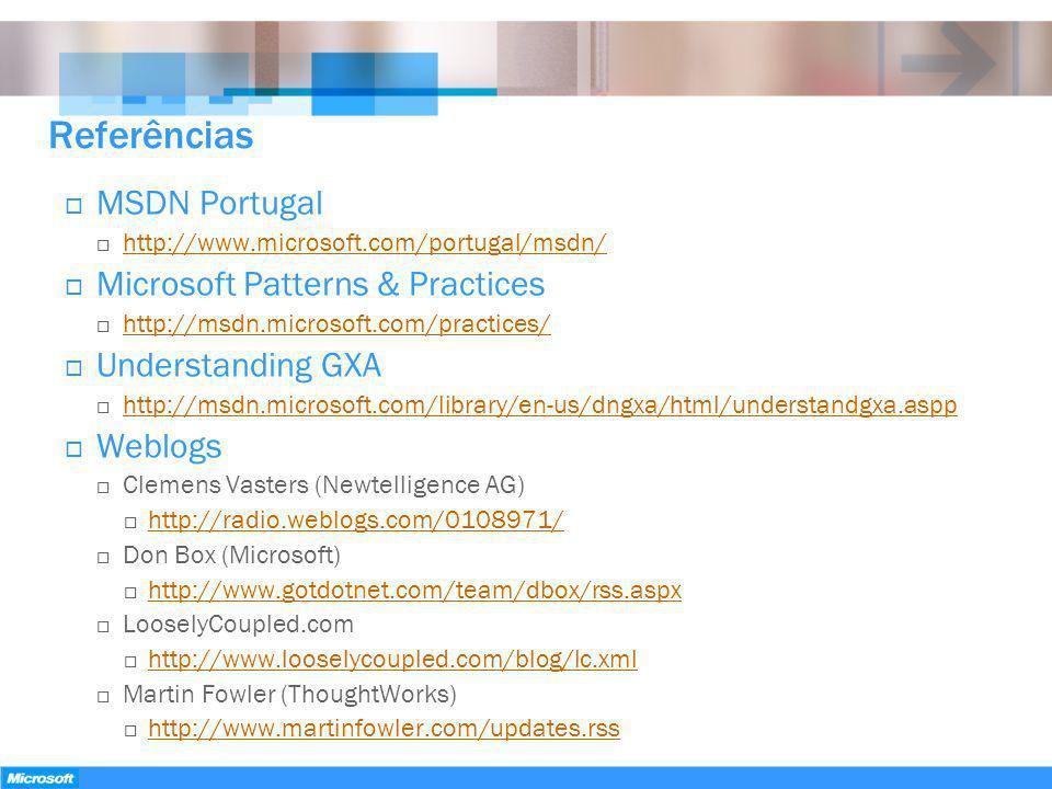 Referências MSDN Portugal http://www.microsoft.com/portugal/msdn/ Microsoft Patterns & Practices http://msdn.microsoft.com/practices/ Understanding GX