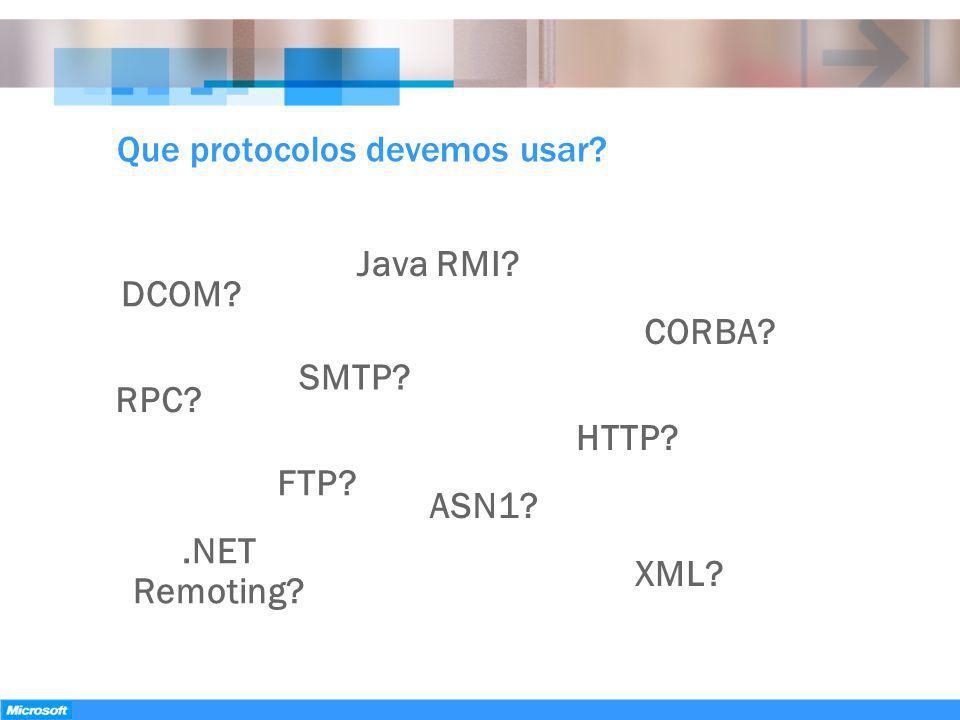 Que protocolos devemos usar? DCOM? Java RMI? CORBA? FTP? HTTP? SMTP?.NET Remoting? XML? RPC? ASN1?