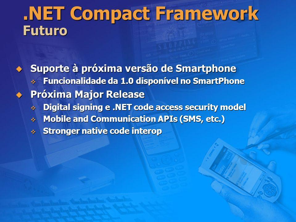 .NET Compact Framework Futuro Suporte à próxima versão de Smartphone Suporte à próxima versão de Smartphone Funcionalidade da 1.0 disponível no SmartP