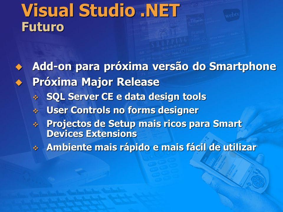 Visual Studio.NET Futuro Add-on para próxima versão do Smartphone Add-on para próxima versão do Smartphone Próxima Major Release Próxima Major Release