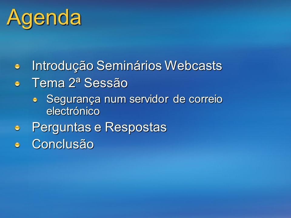 Agenda Introdução Seminários Webcasts Tema 2ª Sessão Segurança num servidor de correio electrónico Perguntas e Respostas Conclusão