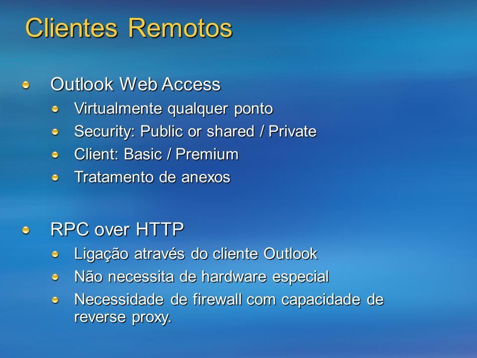 Clientes Remotos Outlook Web Access Virtualmente qualquer ponto Security: Public or shared / Private Client: Basic / Premium Tratamento de anexos RPC over HTTP Ligação através do cliente Outlook Não necessita de hardware especial Necessidade de firewall com capacidade de reverse proxy.