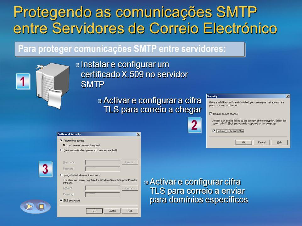 Protegendo as comunicações SMTP entre Servidores de Correio Electrónico Para proteger comunicações SMTP entre servidores: Instalar e configurar um certificado X.509 no servidor SMTP 1 1 Activar e configurar a cifra TLS para correio a chegar 2 2 Activar e configurar cifra TLS para correio a enviar para domínios específicos 3 3