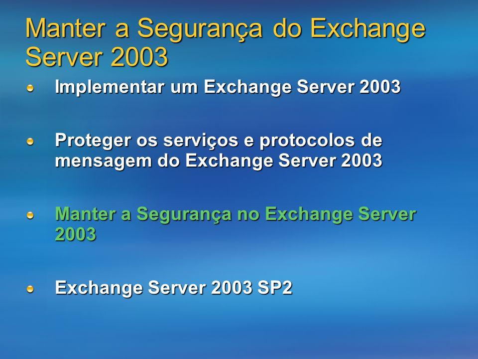 Manter a Segurança do Exchange Server 2003 Implementar um Exchange Server 2003 Proteger os serviços e protocolos de mensagem do Exchange Server 2003 Manter a Segurança no Exchange Server 2003 Exchange Server 2003 SP2