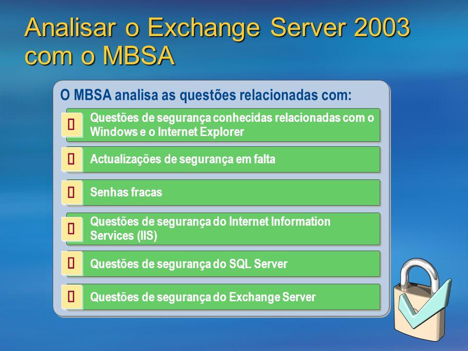 Analisar o Exchange Server 2003 com o MBSA O MBSA analisa as questões relacionadas com: Questões de segurança conhecidas relacionadas com o Windows e o Internet Explorer Actualizações de segurança em falta Senhas fracas Questões de segurança do Internet Information Services (IIS) Questões de segurança do Exchange Server Questões de segurança do SQL Server