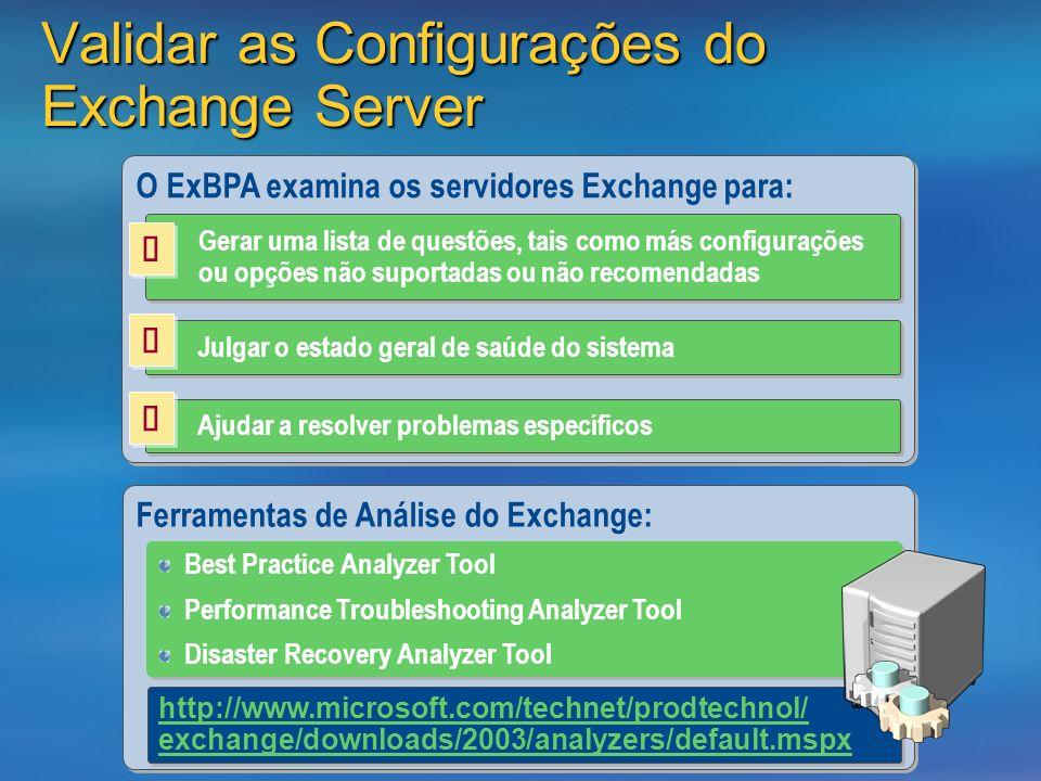 Validar as Configurações do Exchange Server O ExBPA examina os servidores Exchange para: Gerar uma lista de questões, tais como más configurações ou opções não suportadas ou não recomendadas Julgar o estado geral de saúde do sistema Ajudar a resolver problemas específicos Ferramentas de Análise do Exchange: Best Practice Analyzer Tool Performance Troubleshooting Analyzer Tool Disaster Recovery Analyzer Tool Best Practice Analyzer Tool Performance Troubleshooting Analyzer Tool Disaster Recovery Analyzer Tool http://www.microsoft.com/technet/prodtechnol/ exchange/downloads/2003/analyzers/default.mspx