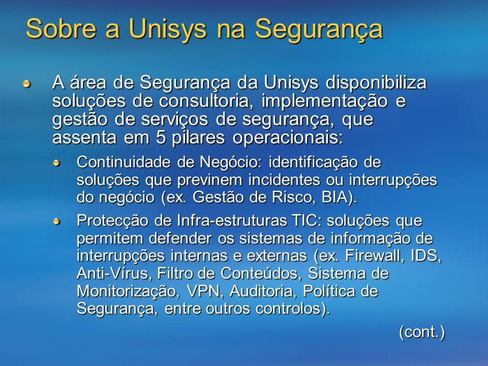 Sobre a Unisys na Segurança A área de Segurança da Unisys disponibiliza soluções de consultoria, implementação e gestão de serviços de segurança, que assenta em 5 pilares operacionais: Continuidade de Negócio: identificação de soluções que previnem incidentes ou interrupções do negócio (ex.