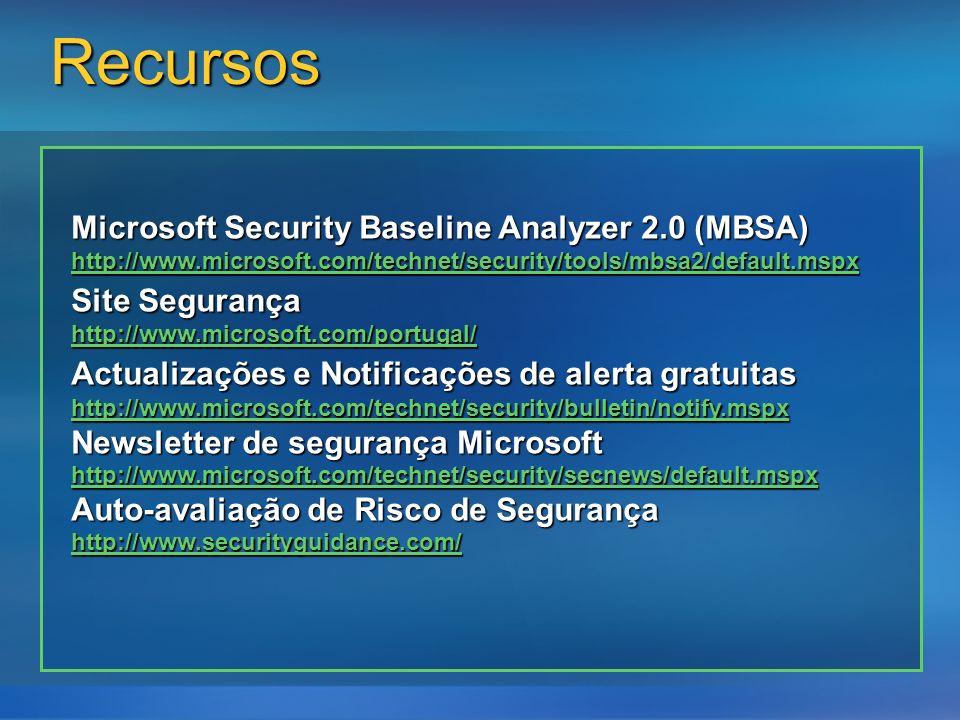 Recursos Microsoft Security Baseline Analyzer 2.0 (MBSA) http://www.microsoft.com/technet/security/tools/mbsa2/default.mspx Site Segurança http://www.microsoft.com/portugal/ Actualizações e Notificações de alerta gratuitas http://www.microsoft.com/technet/security/bulletin/notify.mspx Newsletter de segurança Microsoft http://www.microsoft.com/technet/security/secnews/default.mspx Auto-avaliação de Risco de Segurança http://www.securityguidance.com/