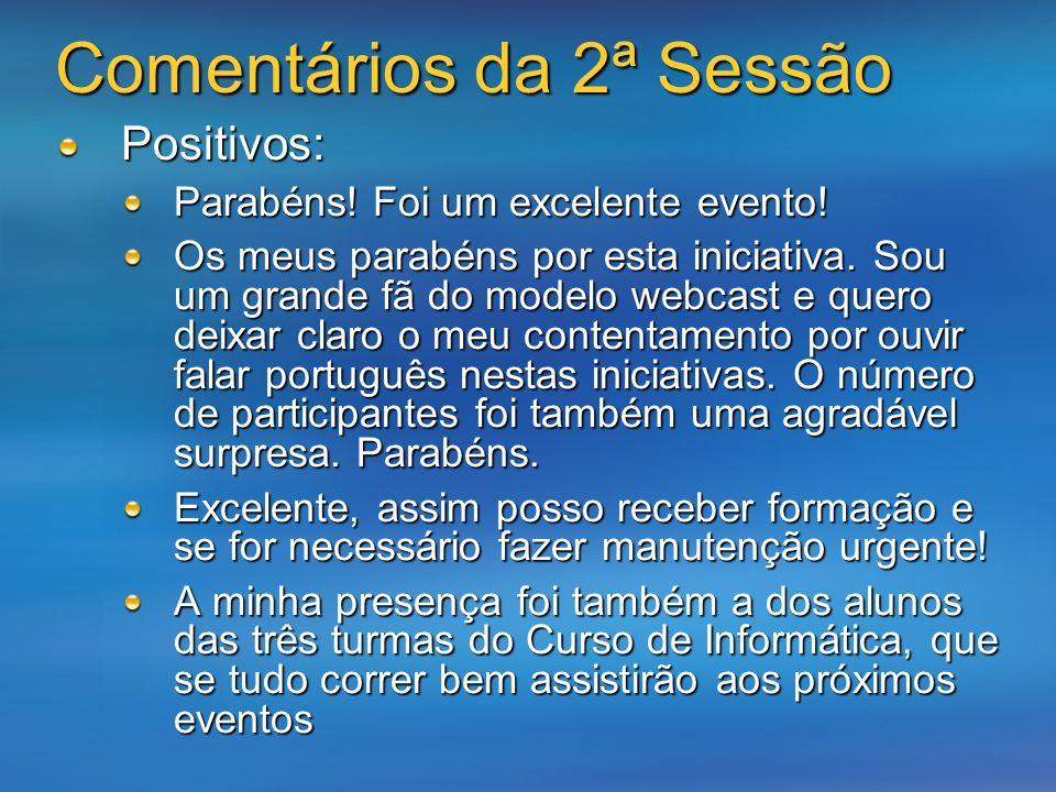 Comentários da 2ª Sessão Positivos: Parabéns. Foi um excelente evento.
