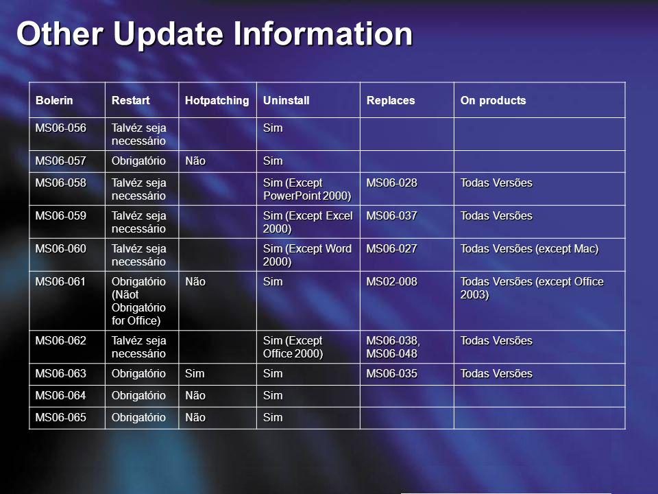 Other Update Information BolerinRestartHotpatchingUninstallReplacesOn products MS06-056Talvéz seja necessário Sim MS06-057ObrigatórioNãoSim MS06-058Ta