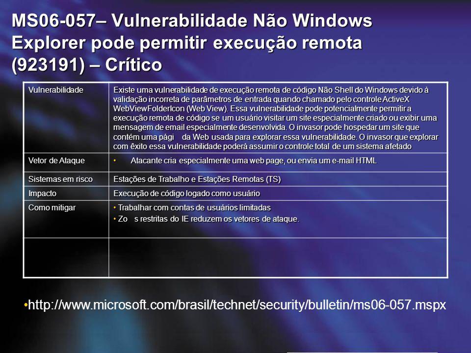 MS06-057– Vulnerabilidade Não Windows Explorer pode permitir execução remota (923191) – Crítico Vulnerabilidade Existe uma vulnerabilidade de execução remota de código Não Shell do Windows devido à validação incorreta de parâmetros de entrada quando chamado pelo controle ActiveX WebViewFolderIcon (Web View).