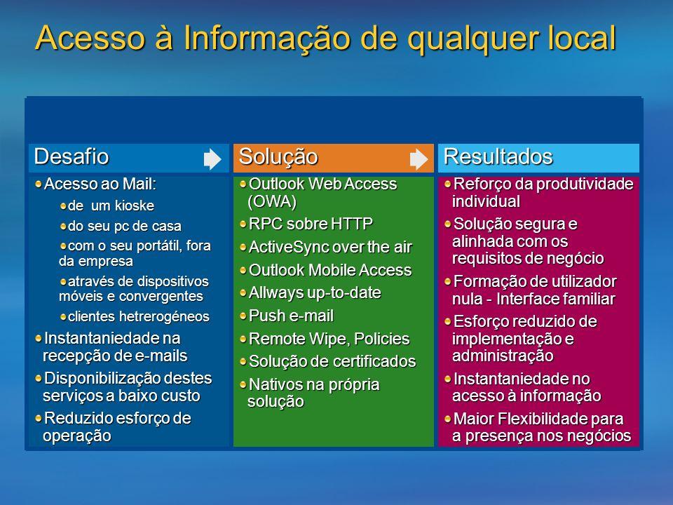 Reforço da produtividade individual Solução segura e alinhada com os requisitos de negócio Formação de utilizador nula - Interface familiar Esforço re