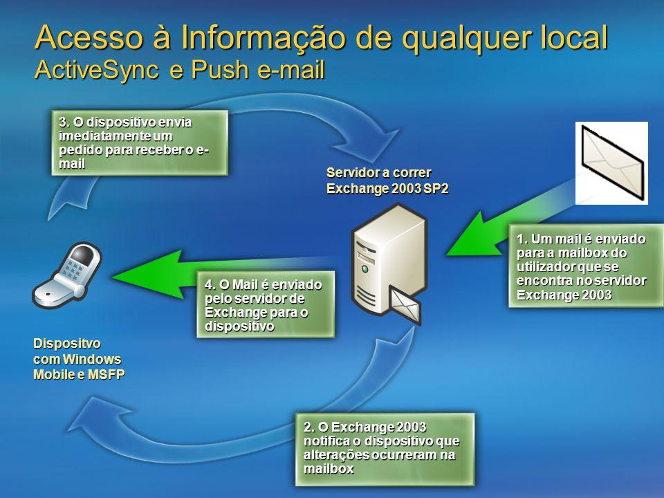 Acesso à Informação de qualquer local ActiveSync e Push e-mail Dispositvo com Windows Mobile e MSFP Servidor a correr Exchange 2003 SP2 2. O Exchange