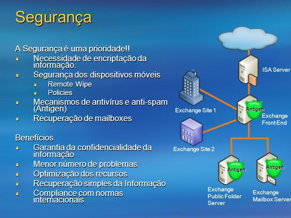 Segurança A Segurança é uma prioridade!! Necessidade de encriptação da informação. Segurança dos dispositivos móveis Remote Wipe Policies Mecanismos d