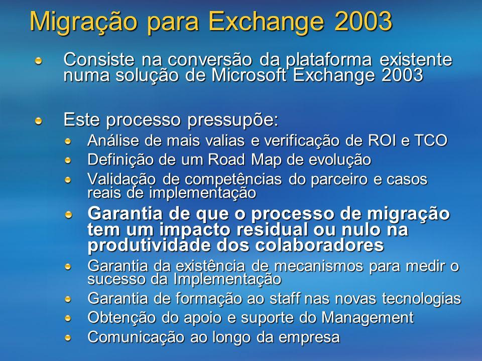 Consiste na conversão da plataforma existente numa solução de Microsoft Exchange 2003 Este processo pressupõe: Análise de mais valias e verificação de