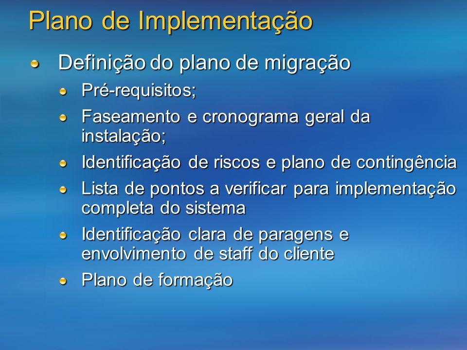 Plano de Implementação Definição do plano de migração Pré-requisitos; Faseamento e cronograma geral da instalação; Identificação de riscos e plano de