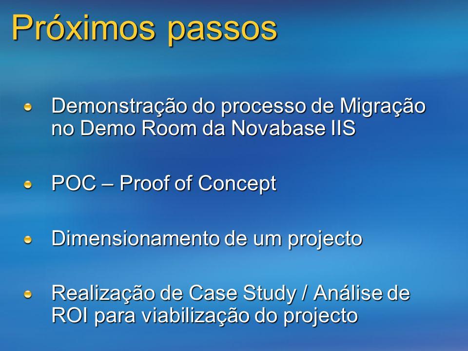 Demonstração do processo de Migração no Demo Room da Novabase IIS POC – Proof of Concept Dimensionamento de um projecto Realização de Case Study / Aná