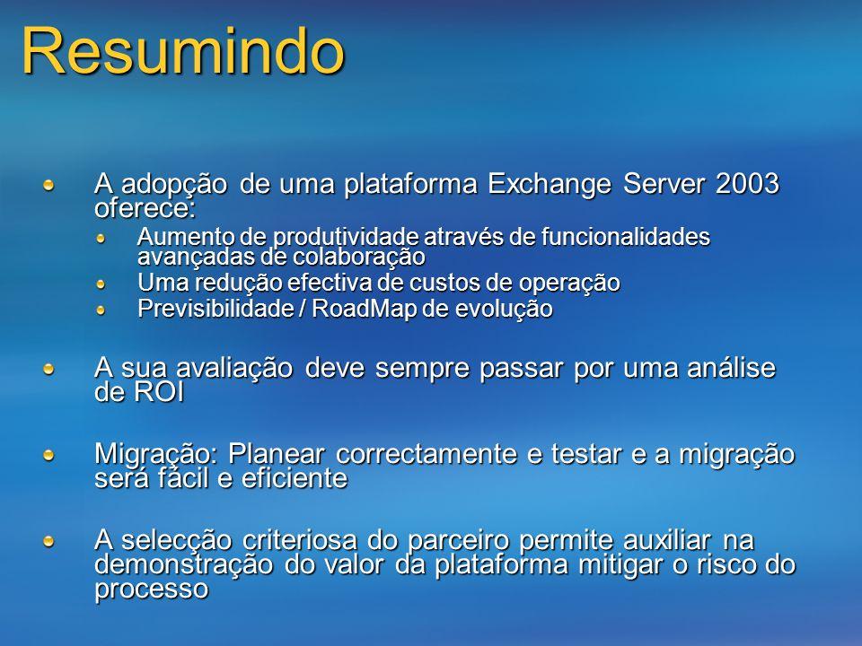 Resumindo A adopção de uma plataforma Exchange Server 2003 oferece: Aumento de produtividade através de funcionalidades avançadas de colaboração Uma r