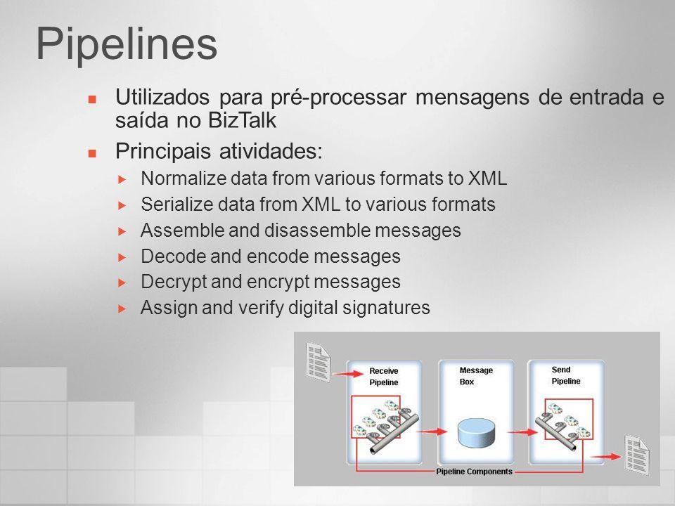 Pipelines Utilizados para pré-processar mensagens de entrada e saída no BizTalk Principais atividades: Normalize data from various formats to XML Seri