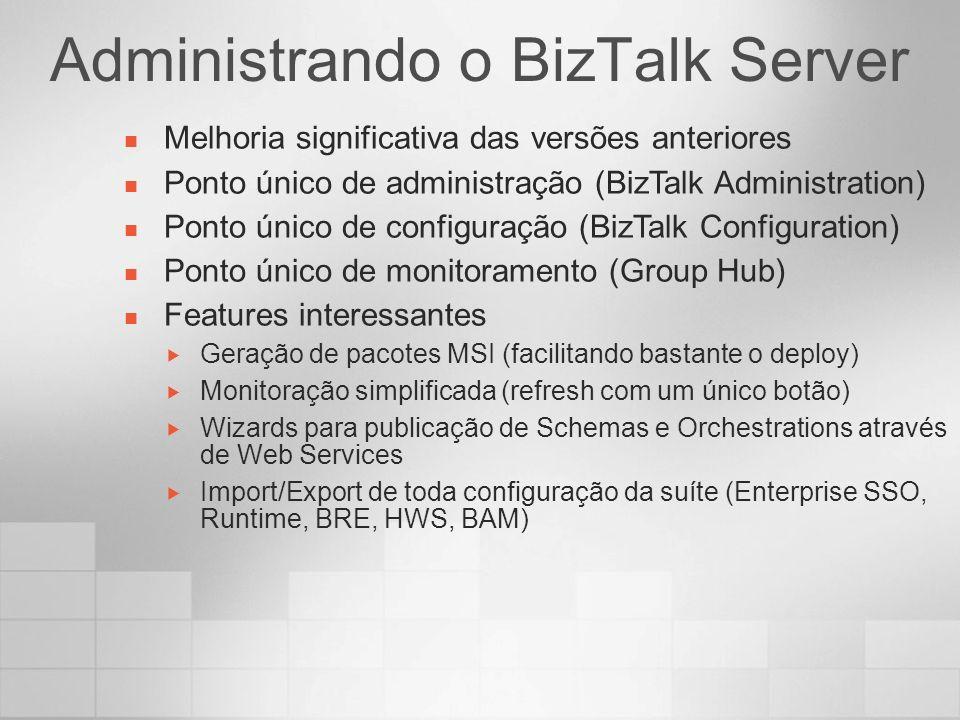 Administrando o BizTalk Server Melhoria significativa das versões anteriores Ponto único de administração (BizTalk Administration) Ponto único de conf