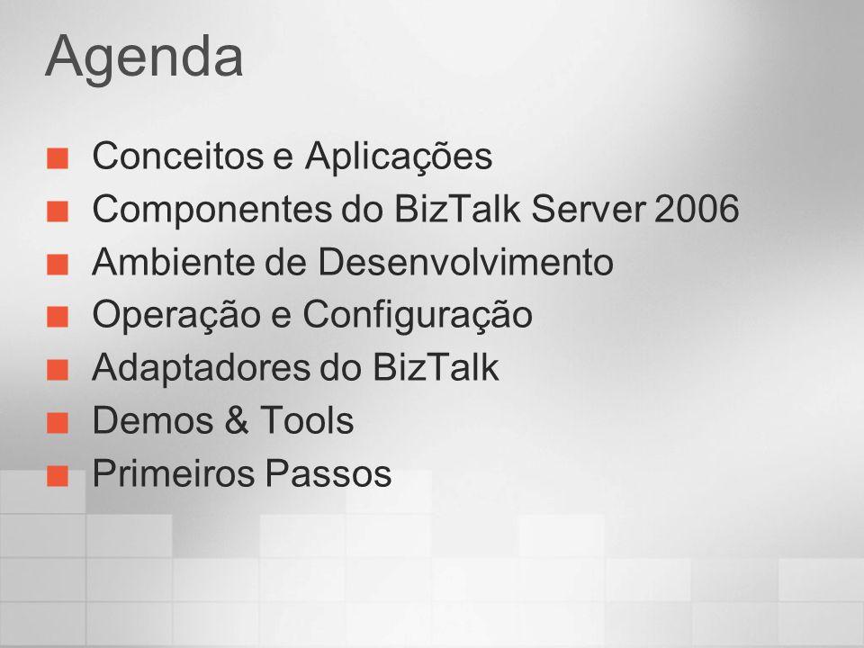 Agenda Conceitos e Aplicações Componentes do BizTalk Server 2006 Ambiente de Desenvolvimento Operação e Configuração Adaptadores do BizTalk Demos & To