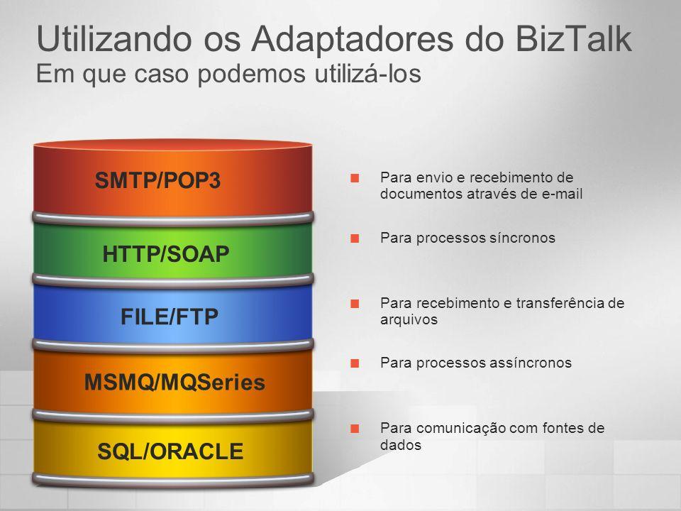 Utilizando os Adaptadores do BizTalk Em que caso podemos utilizá-los SQL/ORACLE MSMQ/MQSeries FILE/FTP HTTP/SOAP SMTP/POP3 Para envio e recebimento de