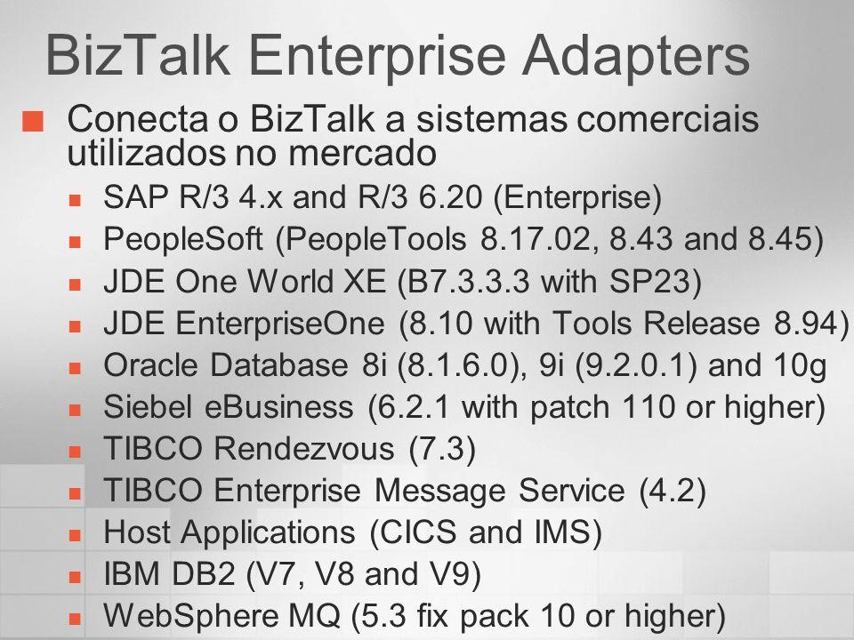 BizTalk Enterprise Adapters Conecta o BizTalk a sistemas comerciais utilizados no mercado SAP R/3 4.x and R/3 6.20 (Enterprise) PeopleSoft (PeopleTool