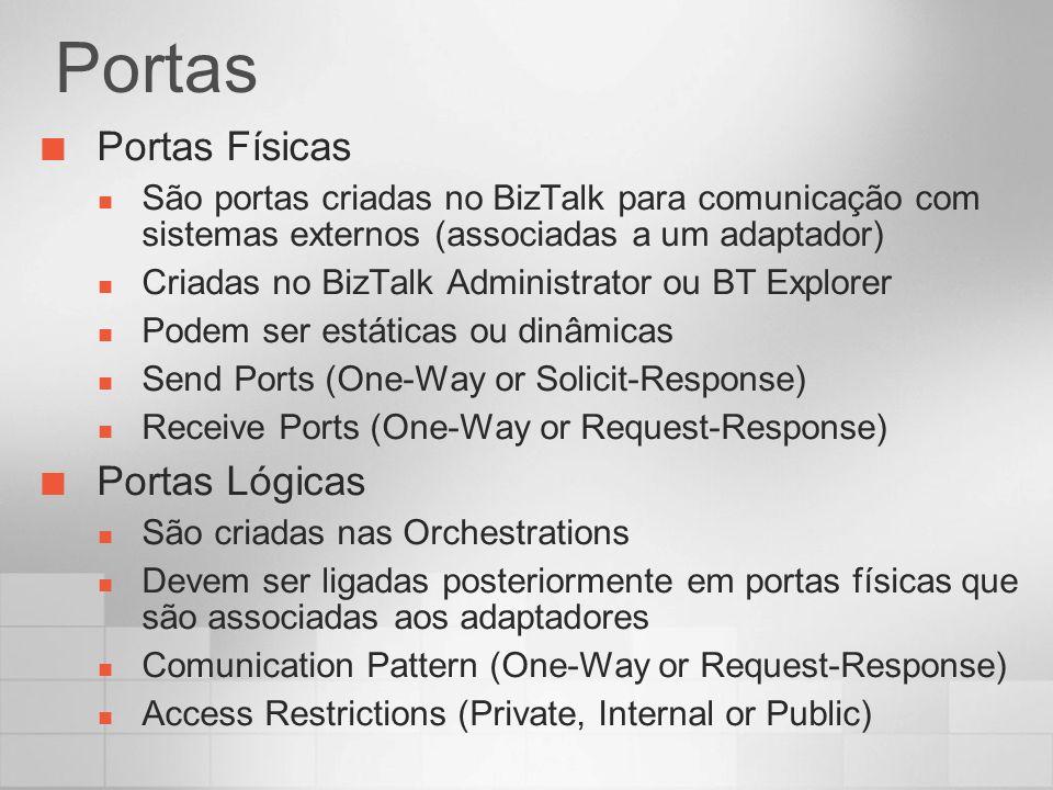 Portas Portas Físicas São portas criadas no BizTalk para comunicação com sistemas externos (associadas a um adaptador) Criadas no BizTalk Administrato