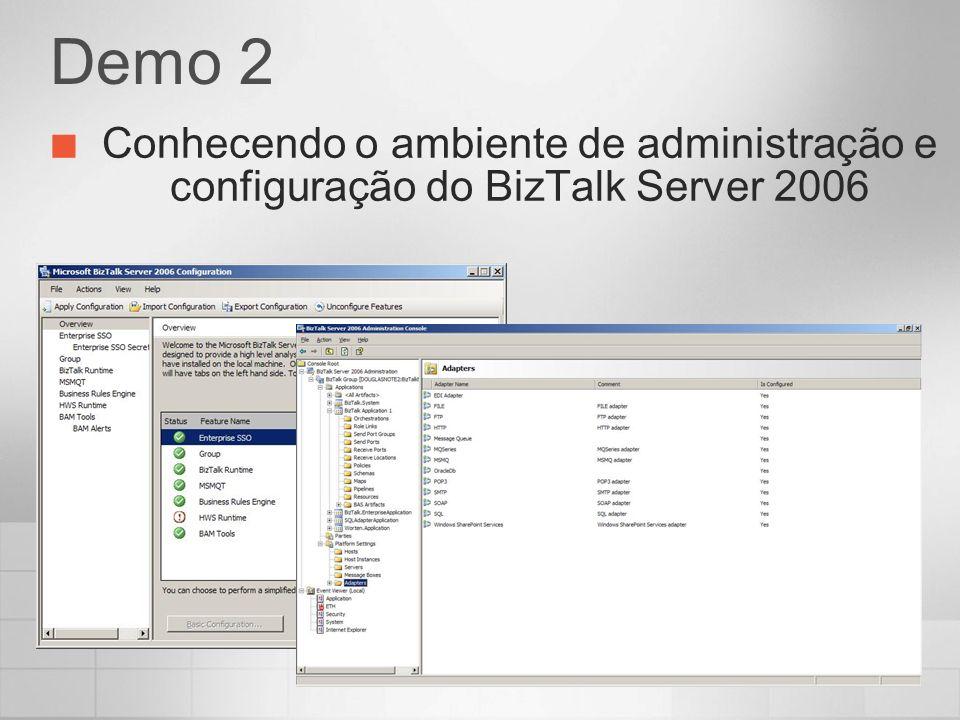Demo 2 Conhecendo o ambiente de administração e configuração do BizTalk Server 2006