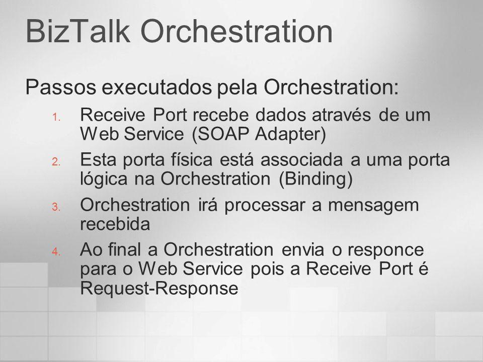 BizTalk Orchestration Passos executados pela Orchestration: 1. Receive Port recebe dados através de um Web Service (SOAP Adapter) 2. Esta porta física