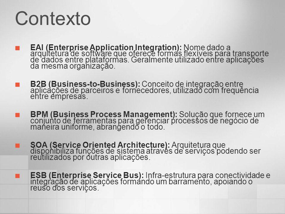 Contexto EAI (Enterprise Application Integration): Nome dado a arquitetura de software que oferece formas flexíveis para transporte de dados entre pla