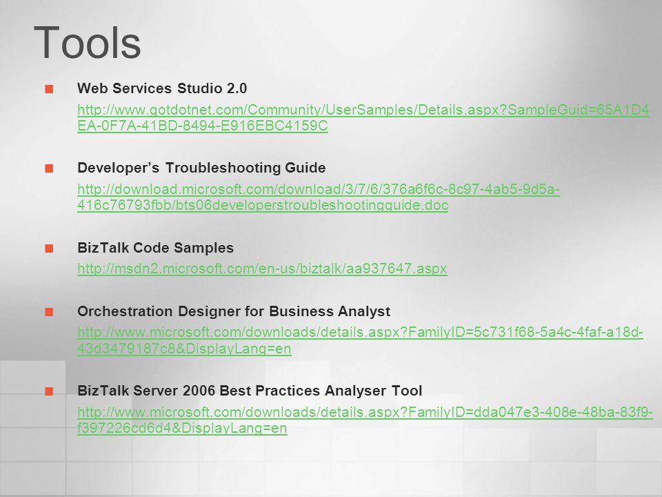 Web Services Studio 2.0 http://www.gotdotnet.com/Community/UserSamples/Details.aspx?SampleGuid=65A1D4 EA-0F7A-41BD-8494-E916EBC4159C Developers Troubl