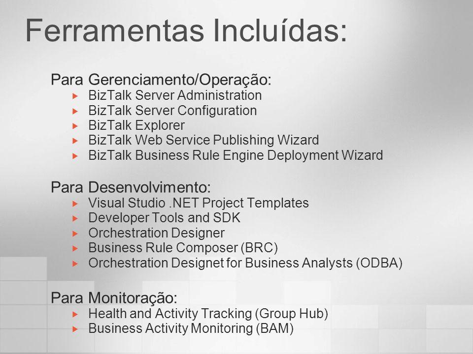Administrando o BizTalk Server Melhoria significativa das versões anteriores Ponto único de administração (BizTalk Administration) Ponto único de configuração (BizTalk Configuration) Ponto único de monitoramento (Group Hub) Features interessantes Geração de pacotes MSI (facilitando bastante o deploy) Monitoração simplificada (refresh com um único botão) Wizards para publicação de Schemas e Orchestrations através de Web Services Import/Export de toda configuração da suíte (Enterprise SSO, Runtime, BRE, HWS, BAM)